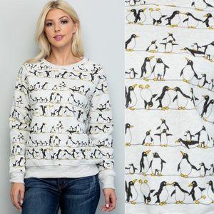 🐧Penguins Print Pullover Sweatshirt Sweater